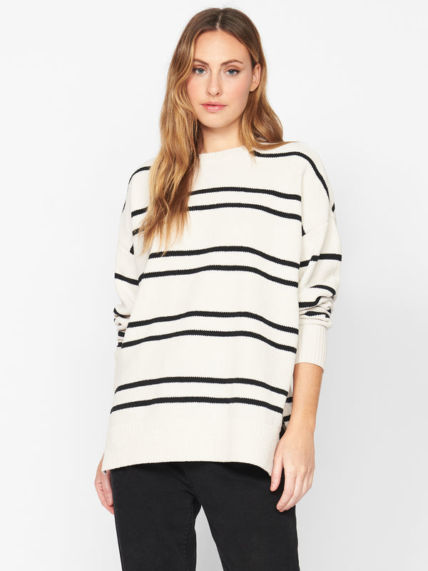 Everyday Sweater Tunic Soymilk and Black Stripe