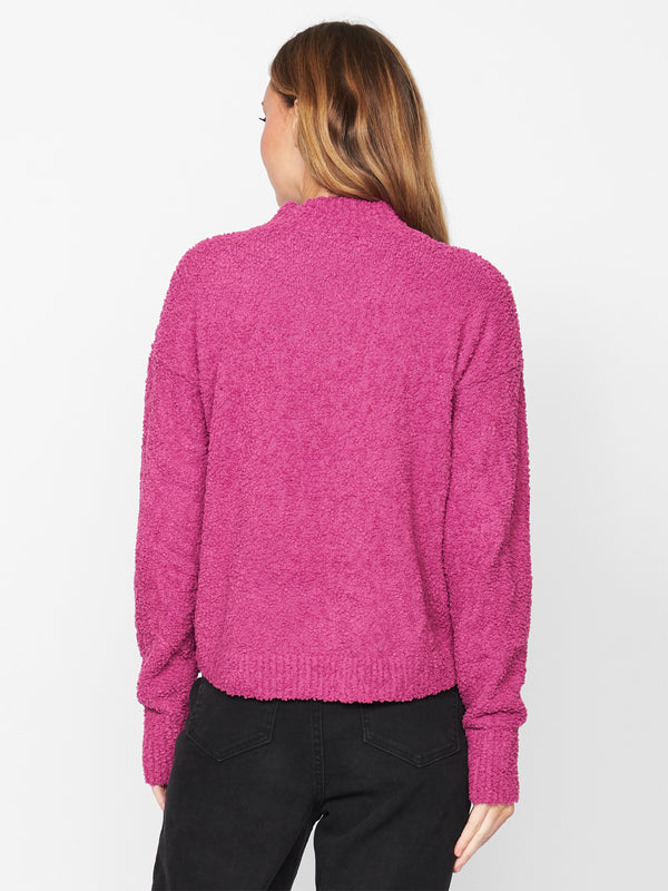Teddy Mock Sweater Magenta
