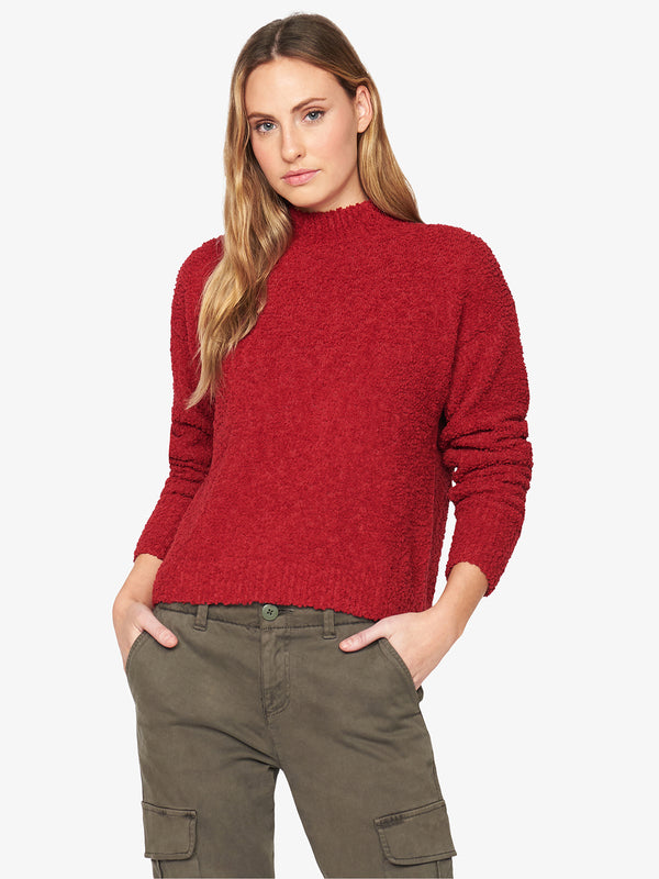 Teddy Mock Sweater Tartan Red