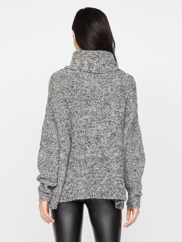 Boucle Cowl Neck Sweater Charcoal Black