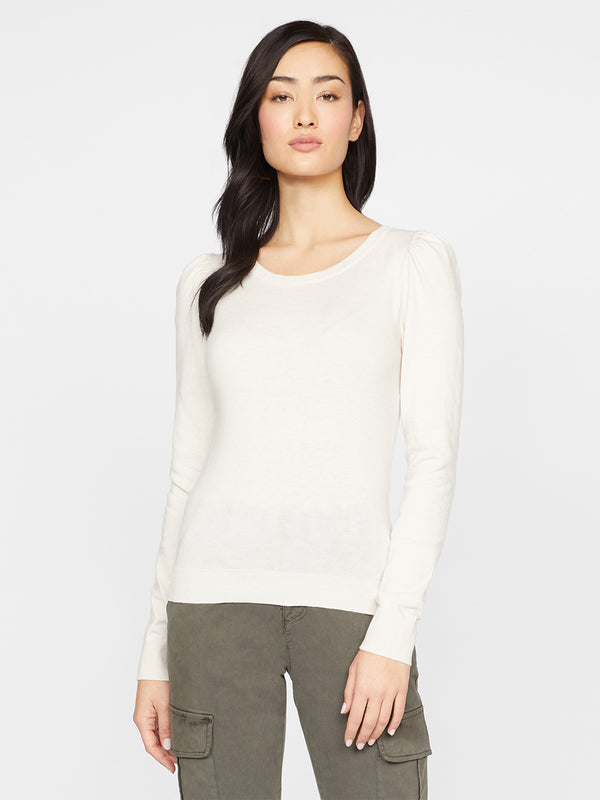 Statement Shoulder Sweater Heather Soymilk