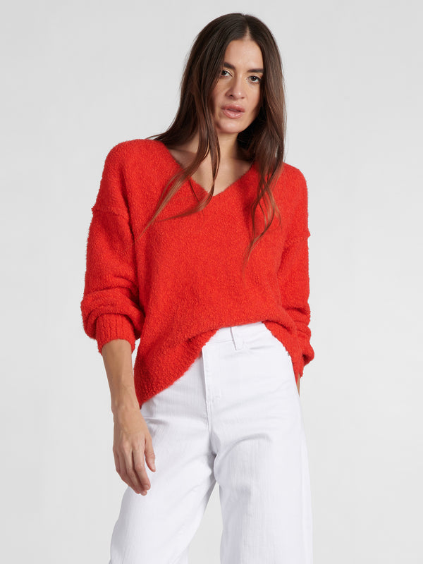 V-Neck Cozy Sweater Punk Red