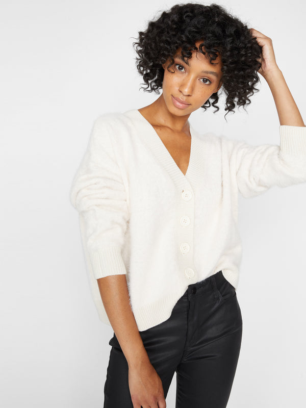 Super Soft Crop Cardi Soy Milk