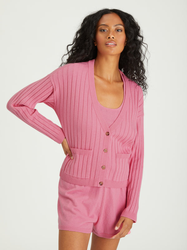 Ribbed Cardi Sugar Pink - SUGAR PINK / XXS - Sweater