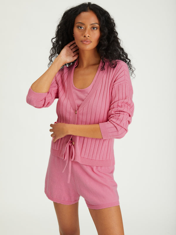 Ribbed Cardi Sugar Pink - Sweater