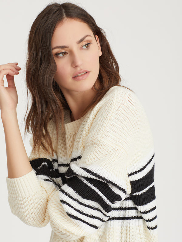 Montauk Sweater Eco Natural Stripe