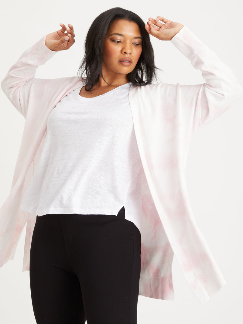 Easy Breezy Cardi Pink Sherbert Tie Dye Inclusive Collection