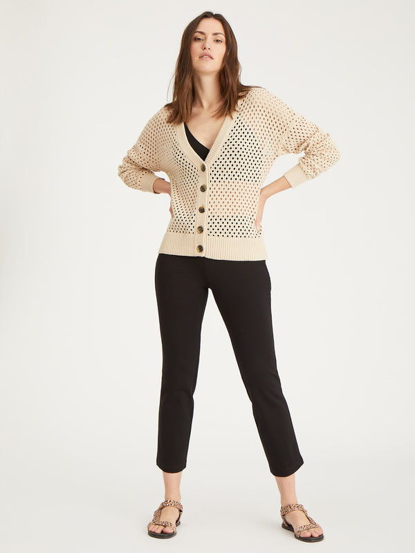 Open To It Cardi Lt Latte - Sweater