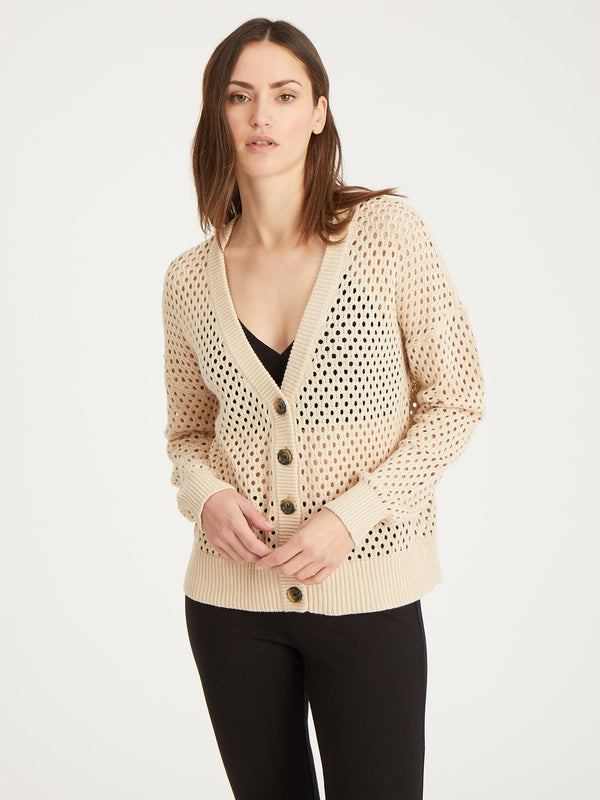 Open To It Cardi Lt Latte - Light Latte / XXS - Sweater
