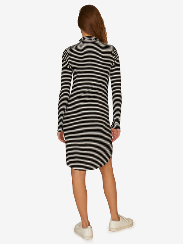 Essentials Mock Neck Dress Classic Stripe Black