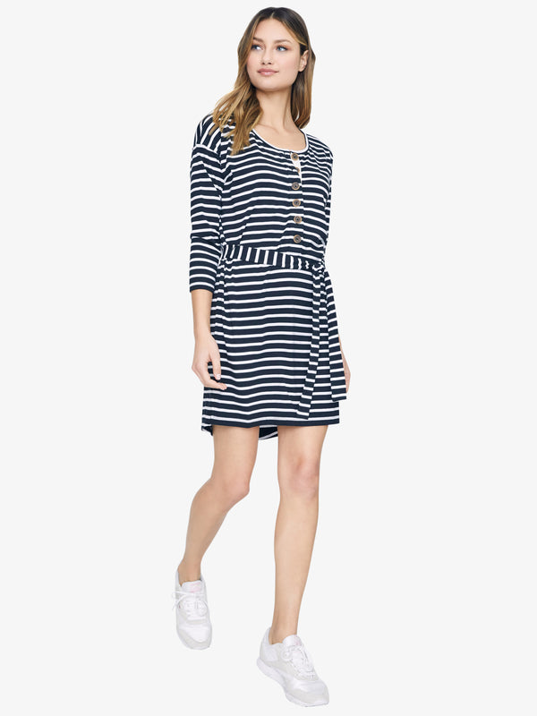 Sullivan Henley Dress Black/White