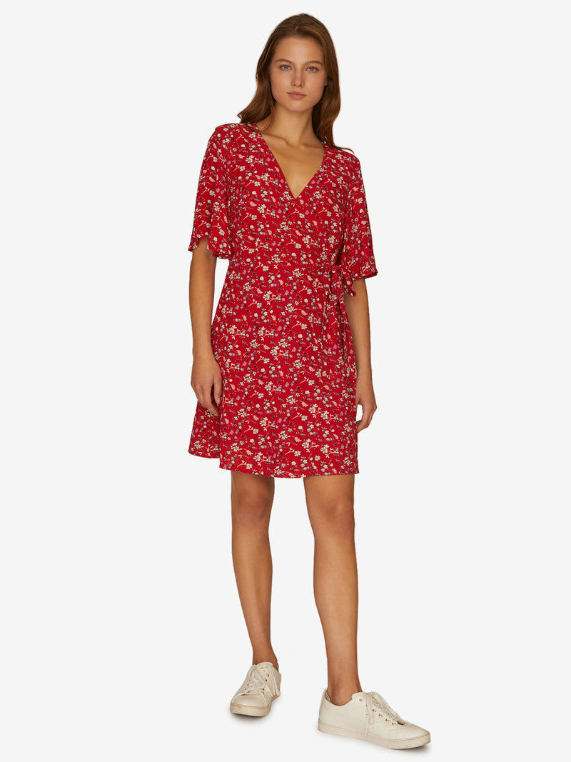 Girl On Fire Faux Wrap Dress Simply Red