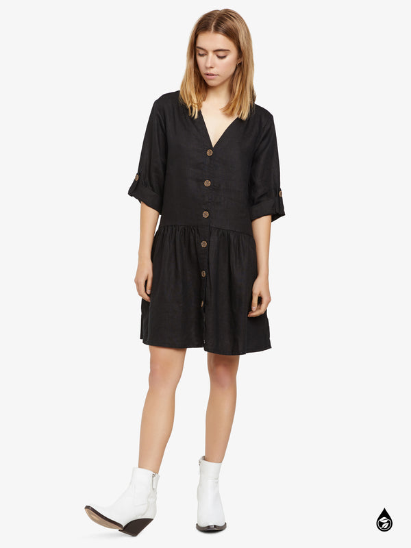 Crossroads Button Front Dress Black