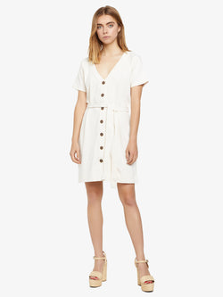 Tallulah Button Front T-Shirt Dress Natural White