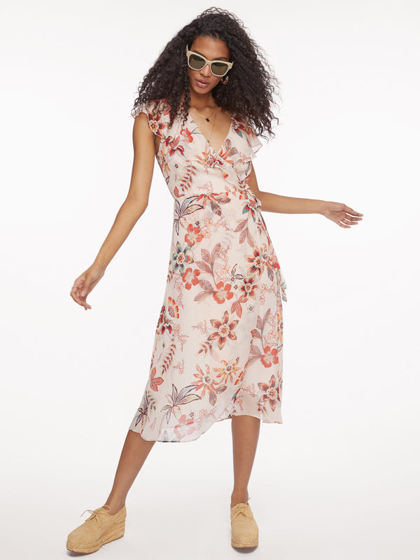 Jolynn Faux Wrap Midi Dress Desert Floral