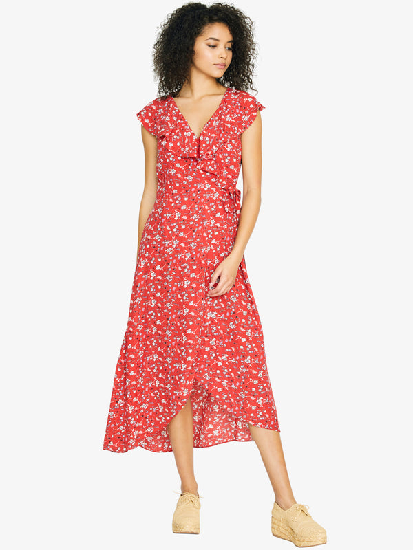 Jolynn Faux Wrap Midi Dress Simply Red