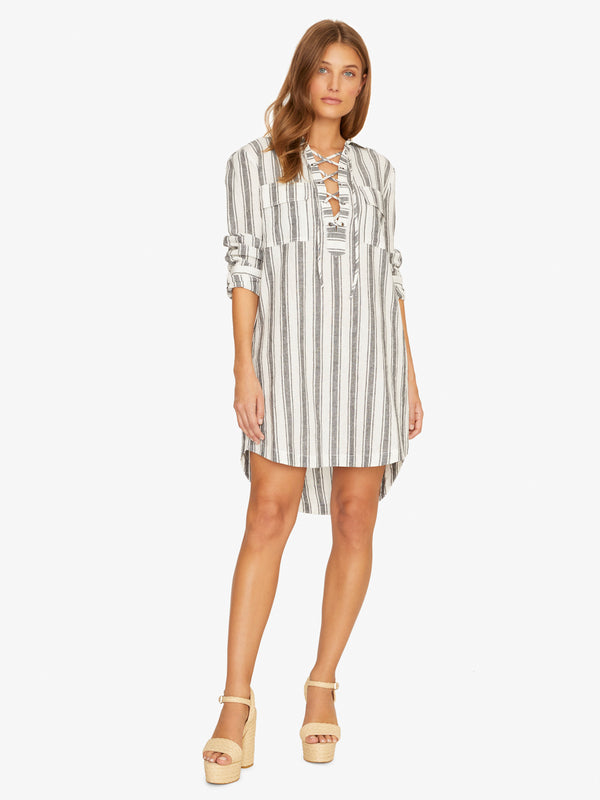 Staycation Lace Up Dress Twilight Stripe