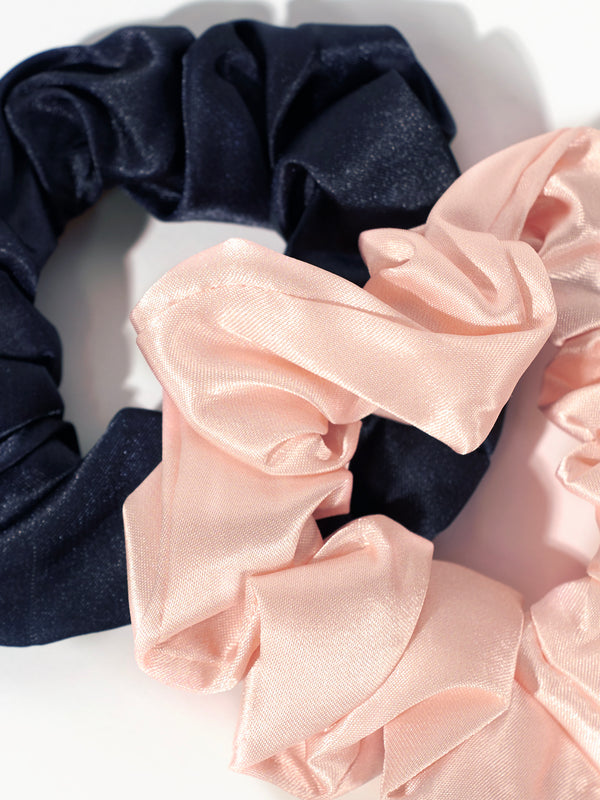 Medium Satin Scrunchie 2 Pack - Noir and Ballet Pink / O/S -