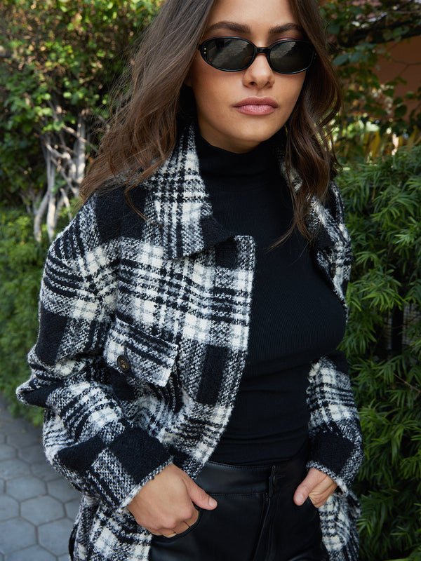 Midi Shacket Winter Latte Plaid - Winter Latte Plaid / XXS -