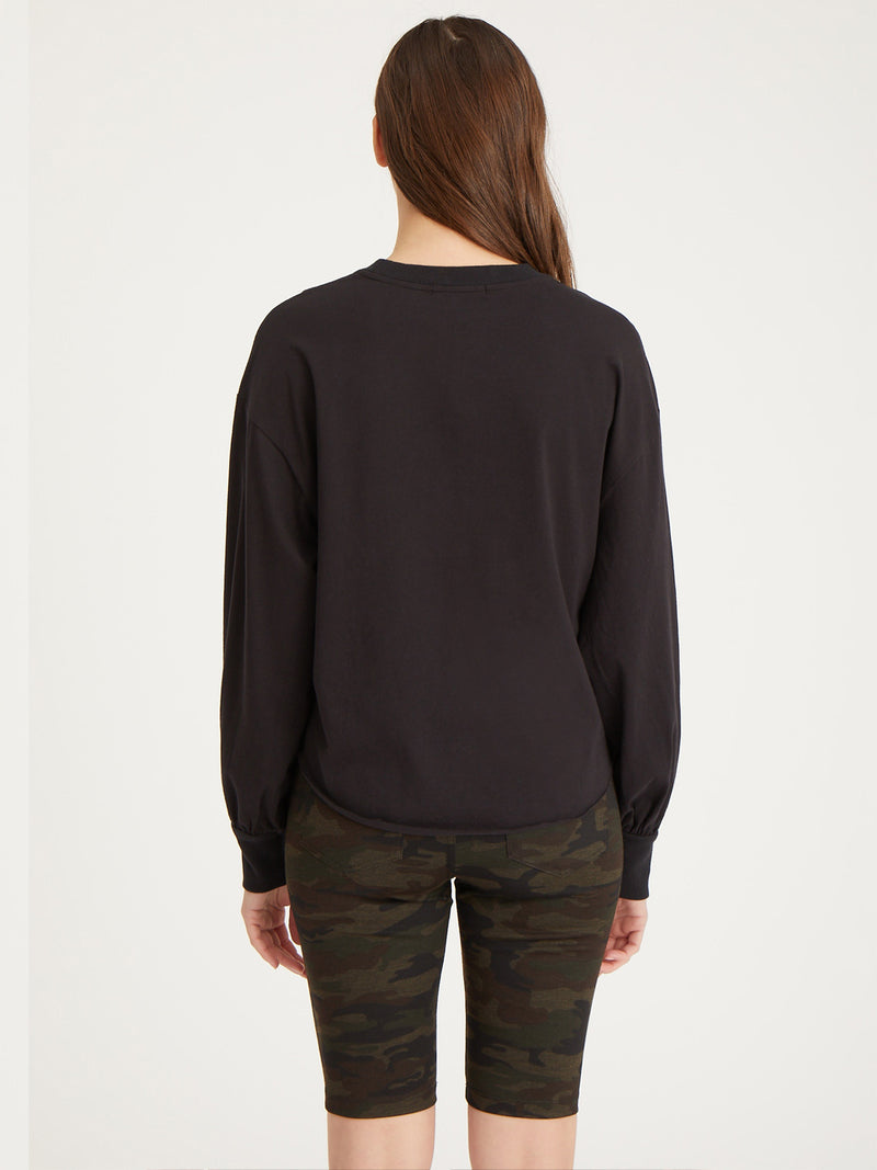 Cropped Long Sleeve Jersey Black - Knit Top