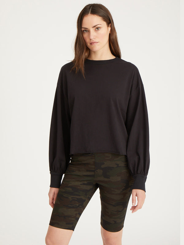 Cropped Long Sleeve Jersey Black - Black / XXS - Knit Top