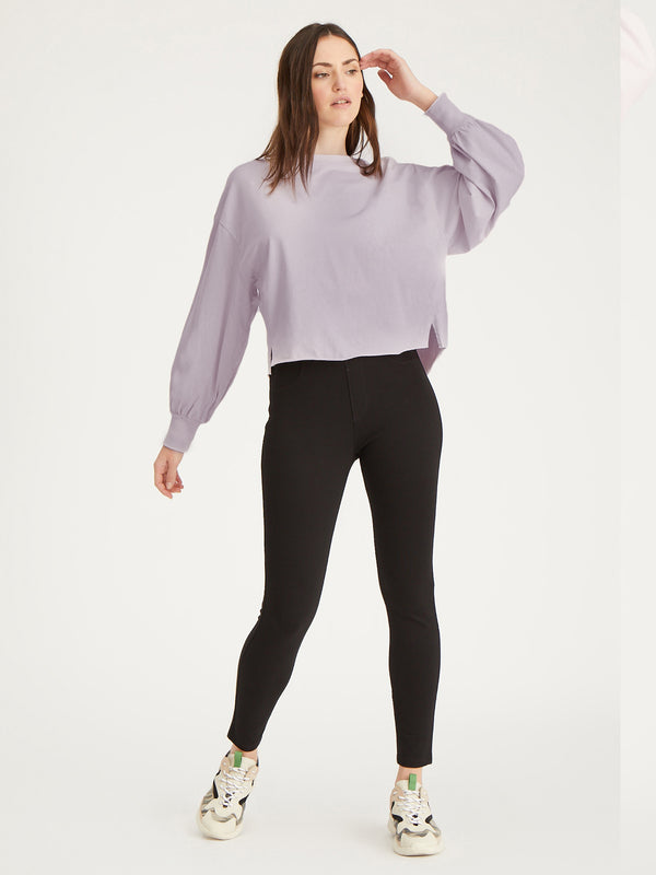 Cropped Long Sleeve Jersey Lavender Field - Knit Top