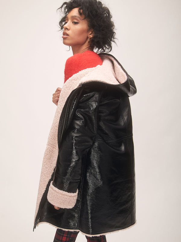 Faux Shearling Patent Leather Black/Dusty Pink