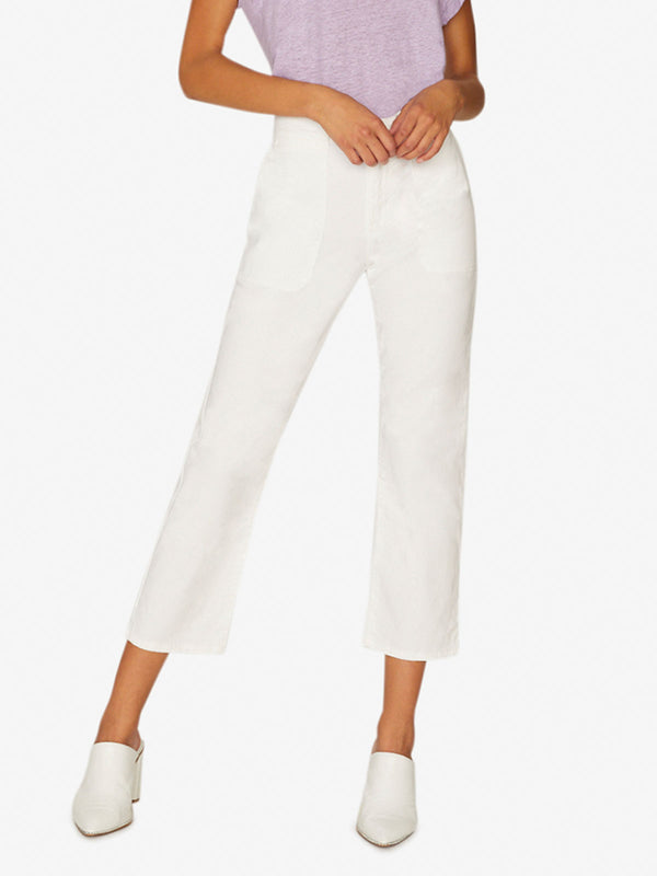 Peace Crop Chino Print Pant Brite White