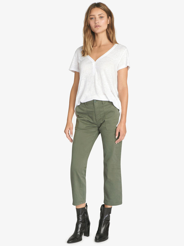 Peace Crop Chino Print Pant Peace Green