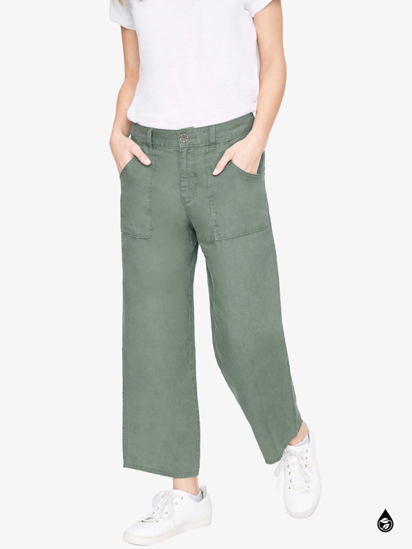 Traveler Wide Leg Crop Utility Peace Green