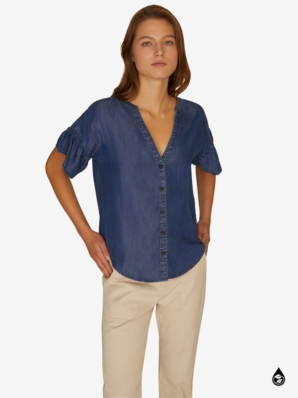 Kora Flutter Sleeve Top Pacific Blue