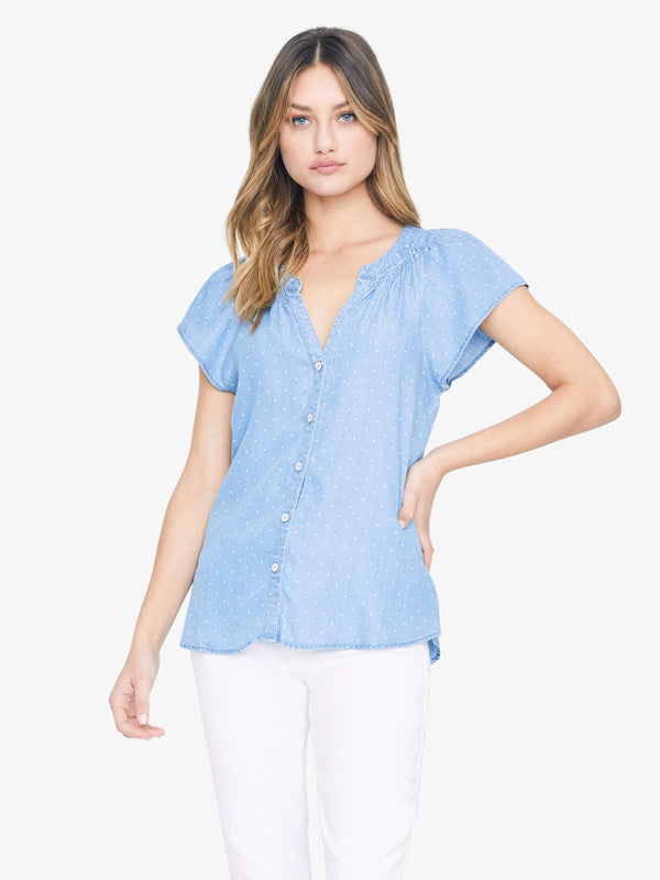 Charmer Button Front Shell Top Denim Dot