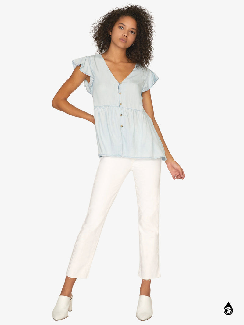 Marcella Flutter Sleeve Top Catalina Wash