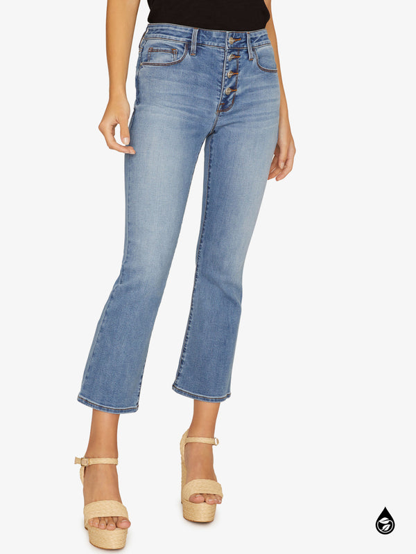 Connector Kick Crop Exposed Fly Jean Sahara Blue