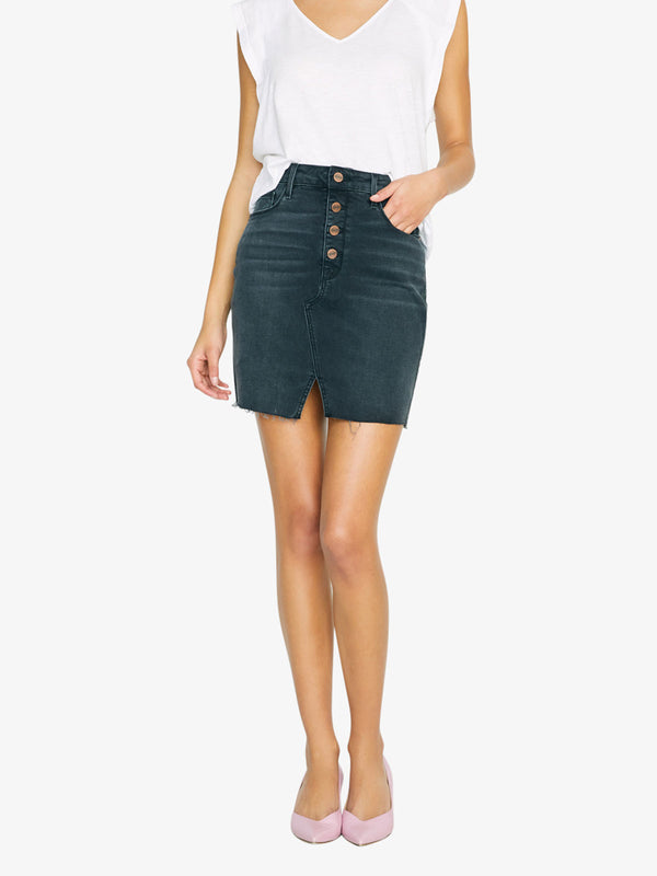 Indie Exposed Fly Skirt in Echo Black