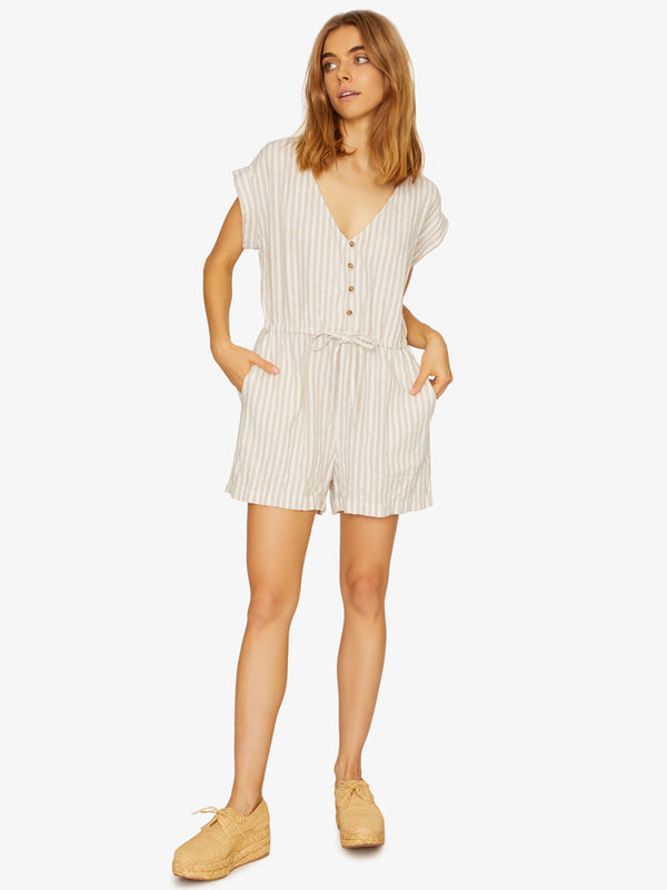 Leo Soft Short Sleeve Romper Sand Valley Stripe