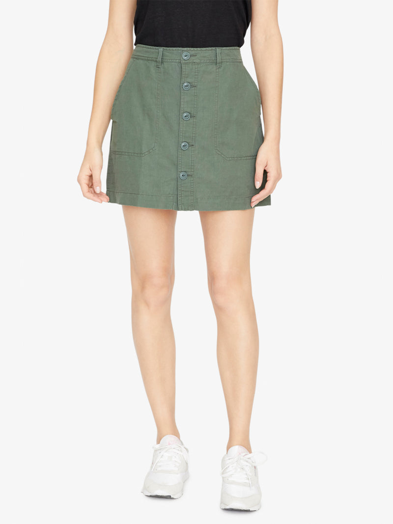 Venture Surplus Button Front Skirt Washed Peace Green