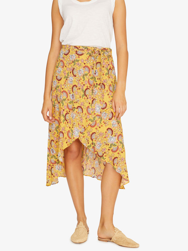 Jamie Faux Wrap Midi Skirt Sunrays