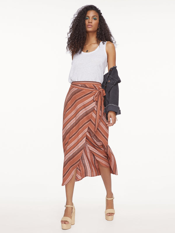 Catching Rays Faux Wrap Skirt Sierra Stripe