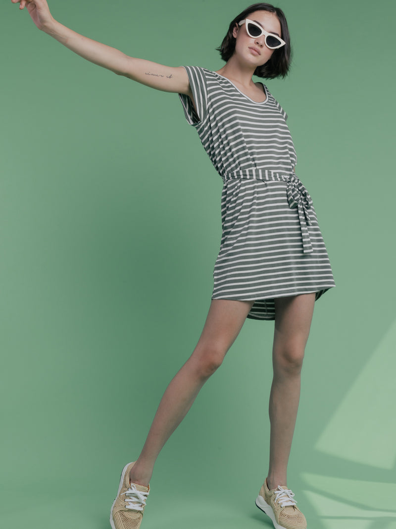 Ruby Scoop T-Shirt Dress Peace Green and Natural White Stripe