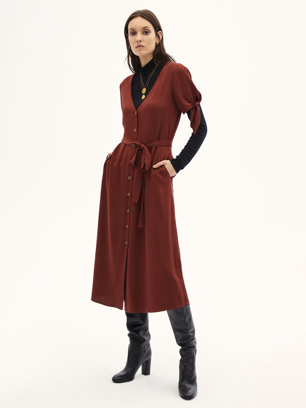 Can't Get Enough Midi Dress Dark Carnelian