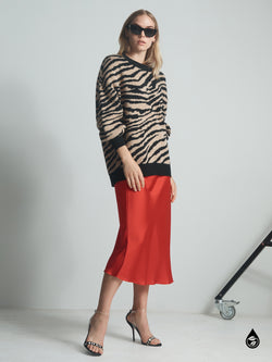 Everyday Midi Skirt Party Red