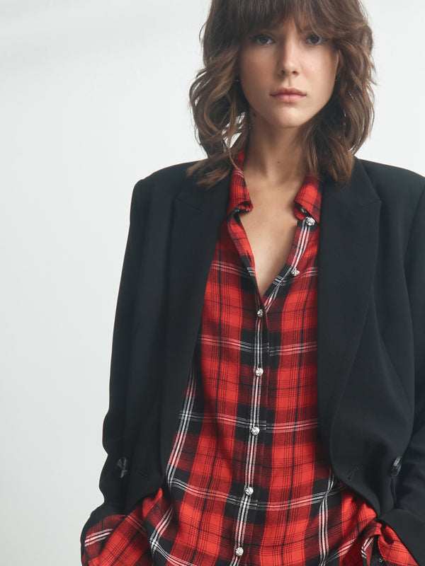 New Generation Boyfriend Shirt Party Red Plaid