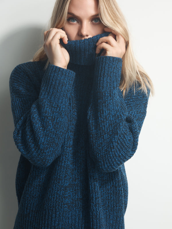 The Roll Neck Sweater Web Blue-Black