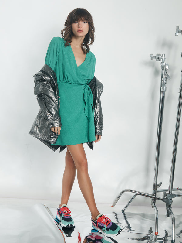 Stay The Night Wrap Dress Emerald