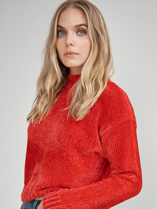 Chenille Mock Neck Sweater Party Red
