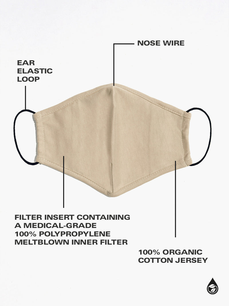 4 Pack Organic Cotton Washable PPE Masks Most Loved Solids -