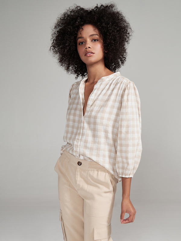 Evelyn Blouson Blouse Neutral Nation Check