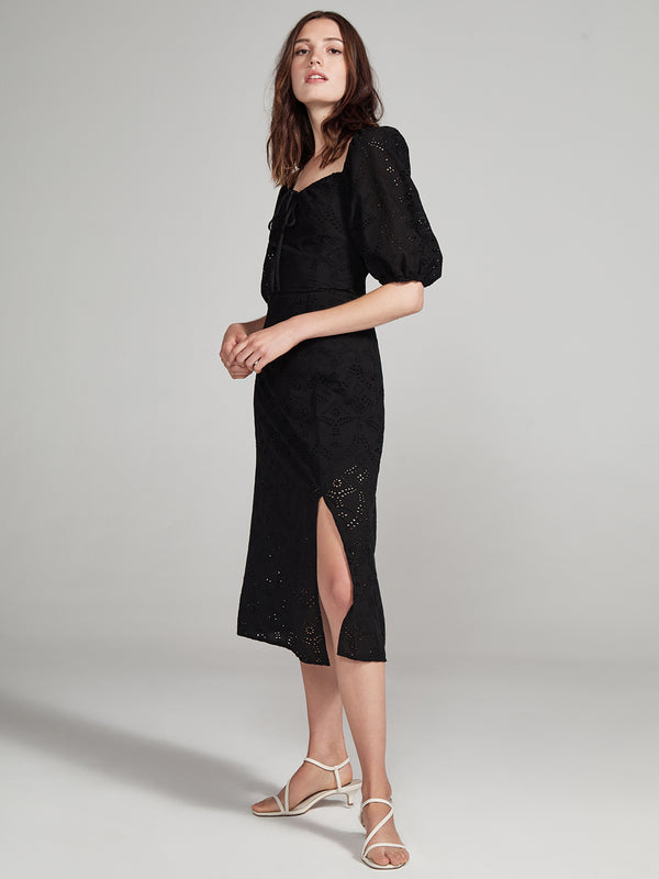 Beatrix Midi Dress Black Eyelet