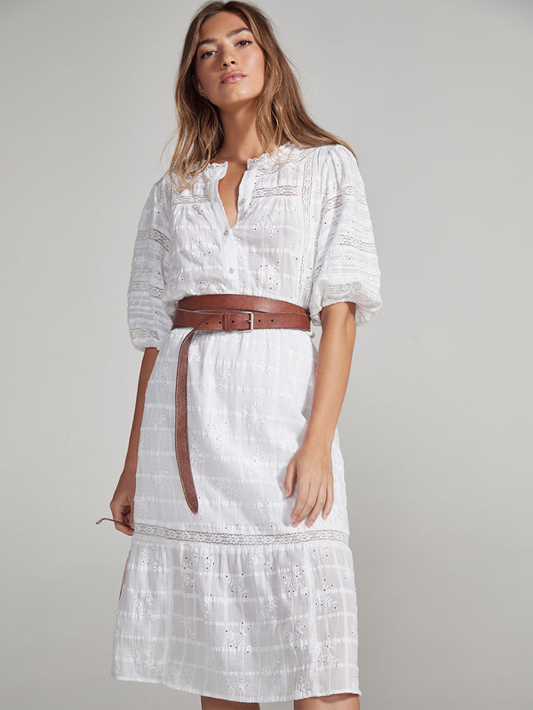 Peninsula Heirloom Dress Midi White